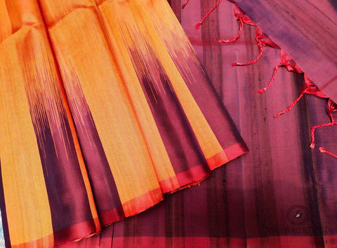 Magenta-orange Raw silk saree
