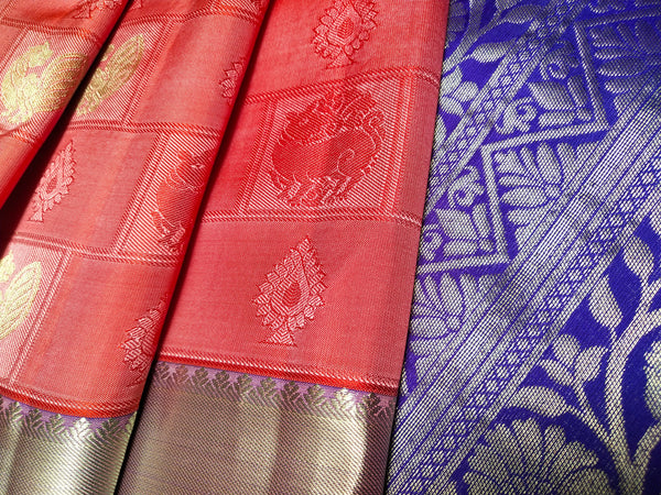 Pink Silk Saree with Purple Pallu