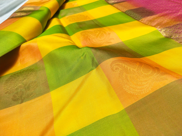 Mango Yellow checked Silk Saree
