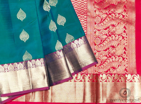 Peacock blue-green Silk Saree