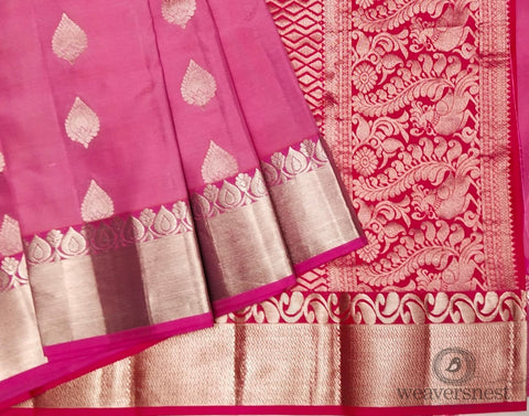 Pink-red Peacock designed Silk Saree