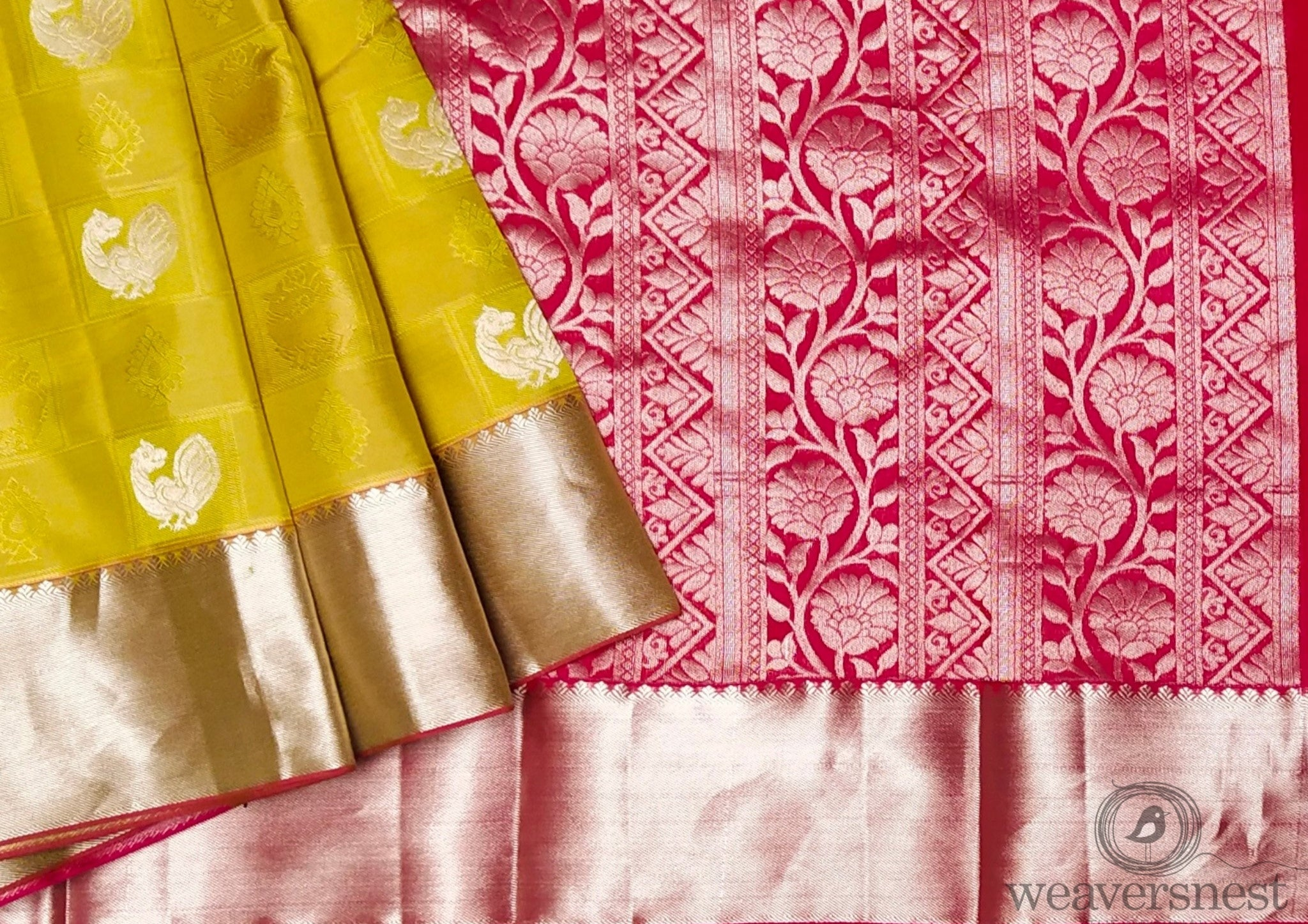Yellow Floral Pure Silk Saree