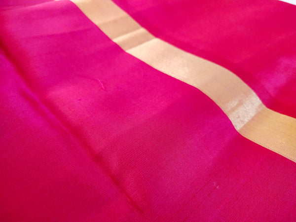 Hot Pink Soft Silk saree with Ikkat design