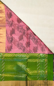 Tri-Colour Ikkat Soft Silk Saree