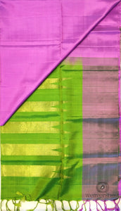 Lavender Soft Silk Saree with Green Pallu