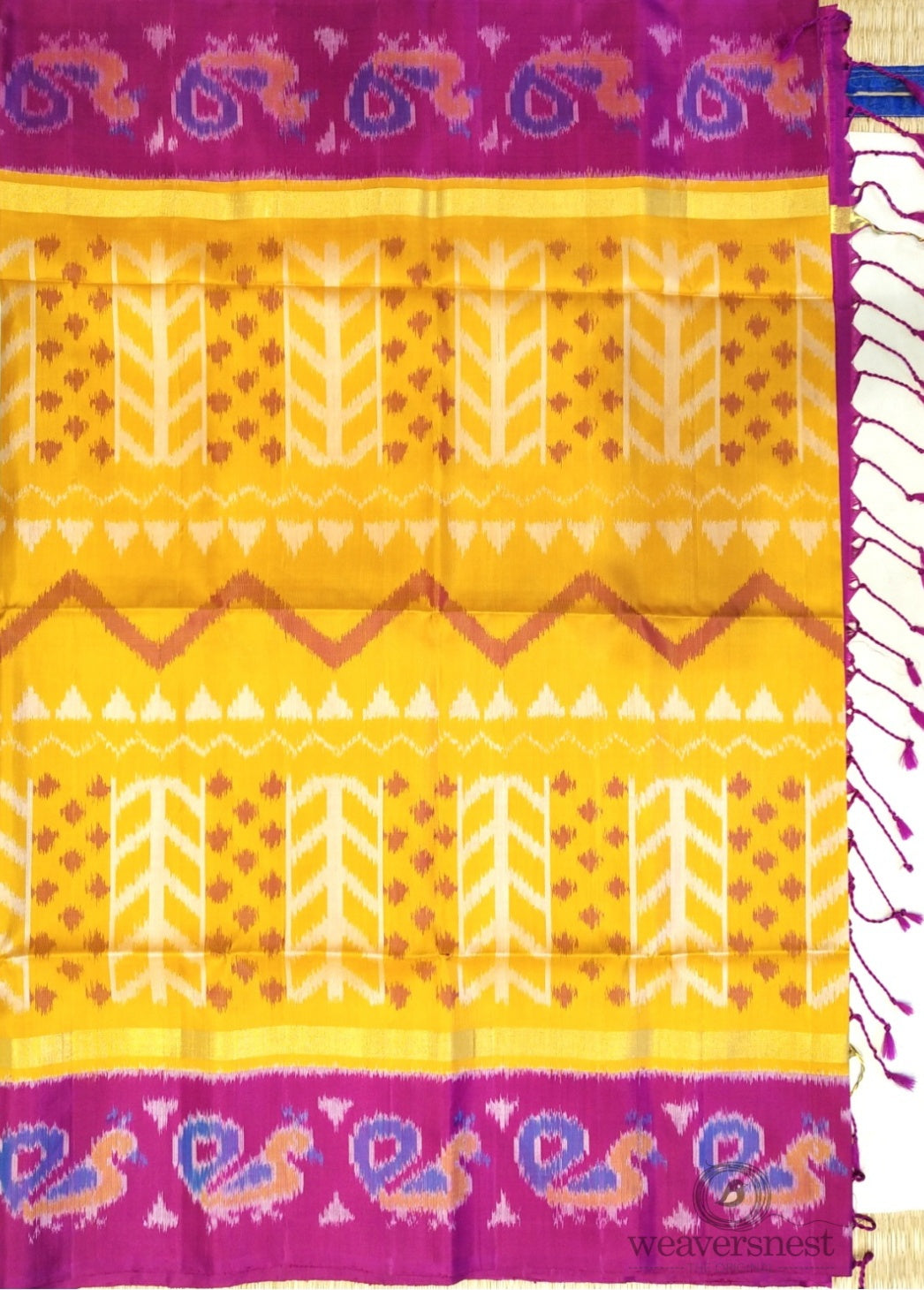 Bright Yellow Ikkat Soft Silk saree with Pink Pallu