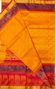 Mango-Yellow Zari putta Soft Silk saree with Orange Pallu