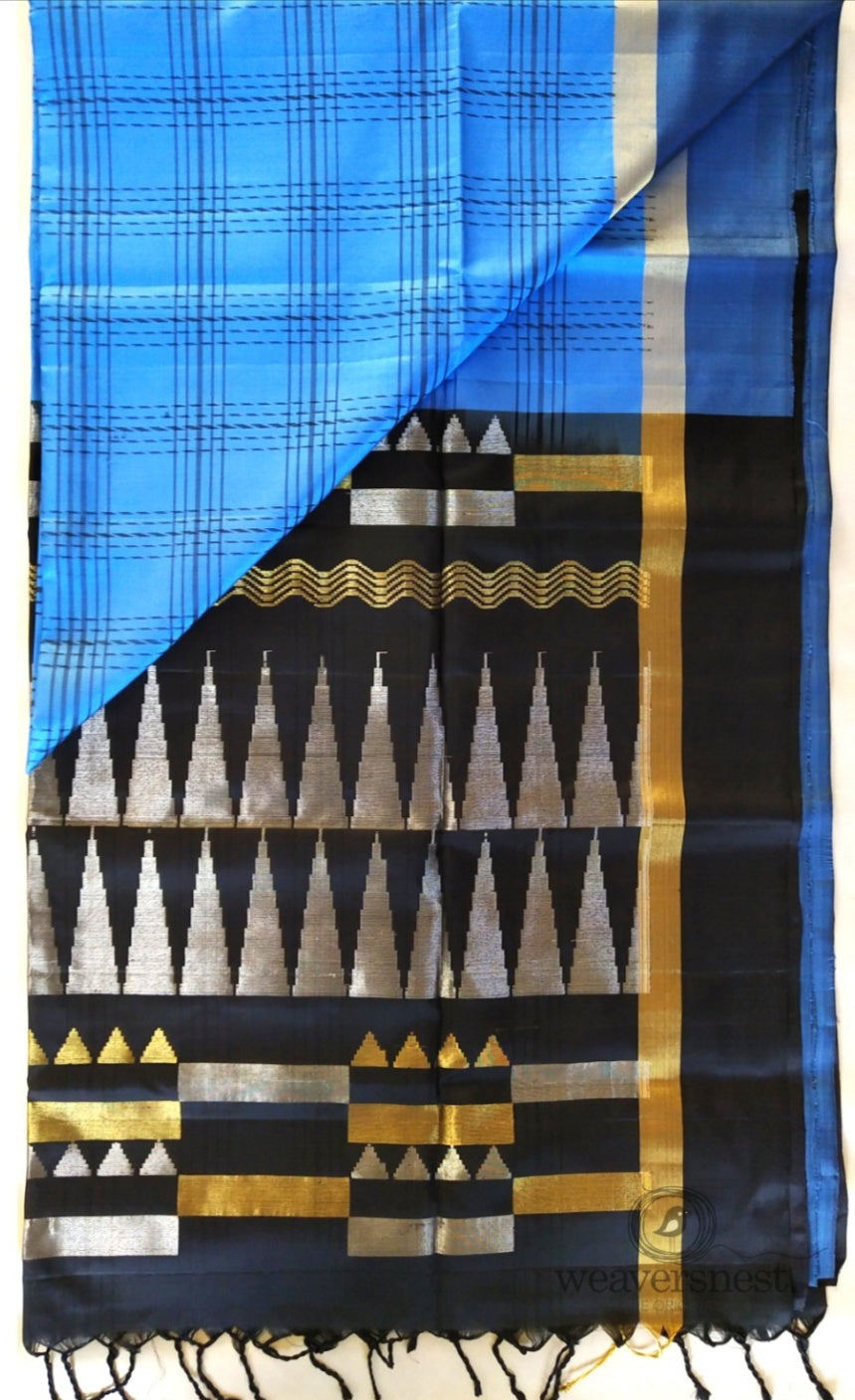 Blue checked Saree with Temple Pallu