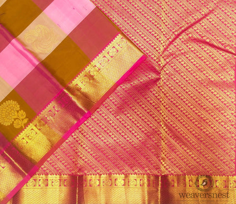 Pink checked Silk Saree