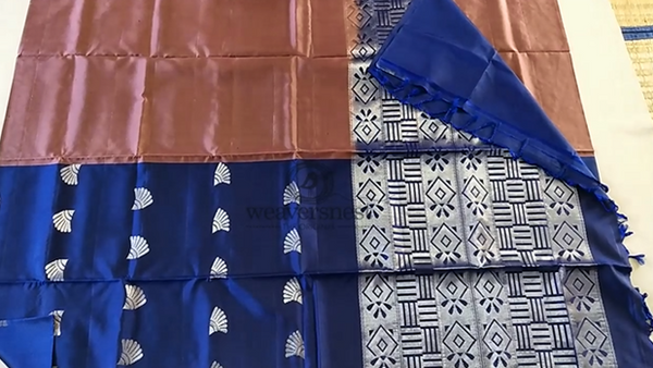 Stunning Blue & Chocolate Brown half and half Soft Silk Saree with Silver Zari Work