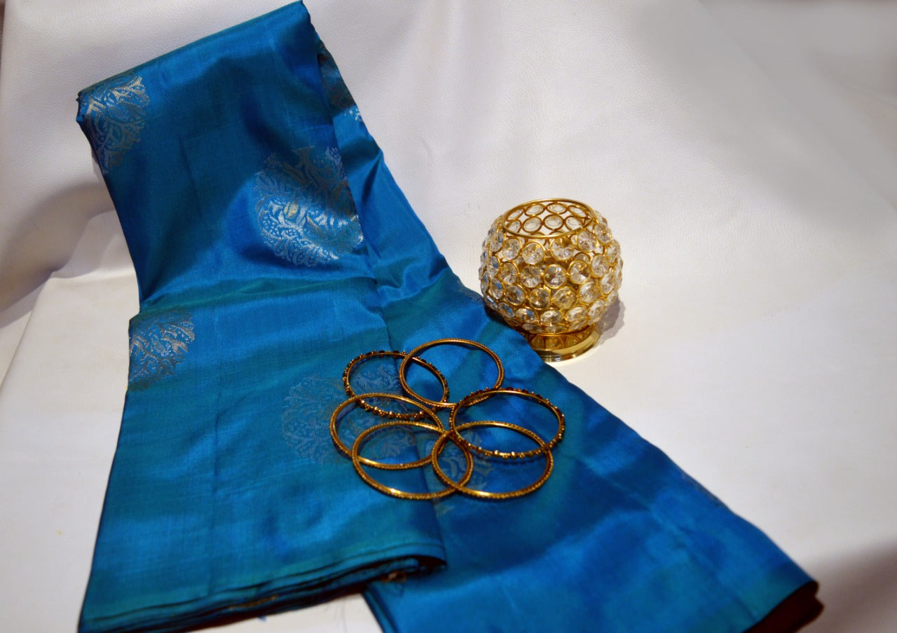 Bright Blue Soft Silk Saree with Chakra design