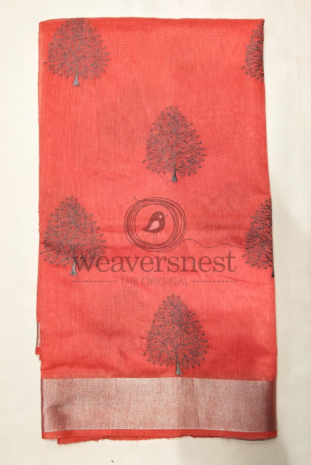Tree Designed Red Linen Saree