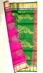 Pink-Green Soft Silk Saree