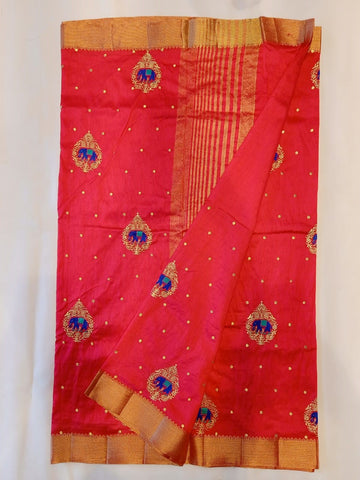 Red Kota Cotton Saree with Embroidery work
