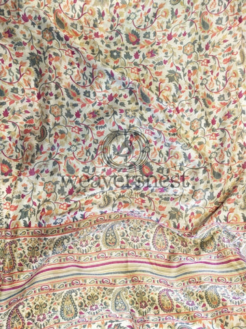 Floral work Kashmiri Silk Saree