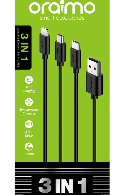 Oraimo 3in1 Universal Data Cable