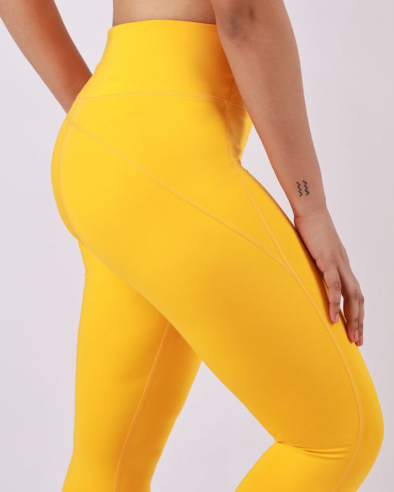 Groove Basic High-Waist Compressive Tights in Lemon