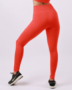 Groove Basic High-Waist Compressive Tights in Tomato