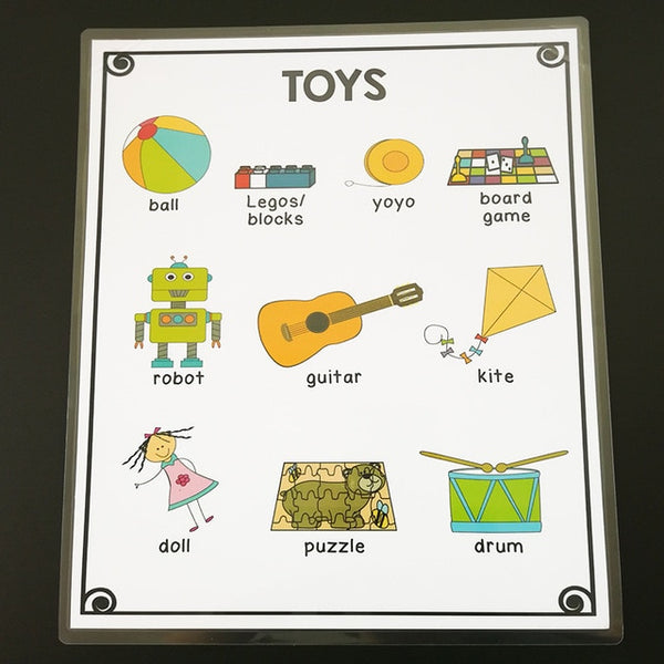 Big Size A4 English Words Card Cartoon Picture Poster Mind Map Baby Early Learning Education Classroom Decoration Plastic Seal