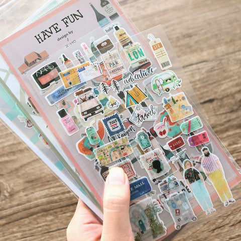 Travel Journal Stickers Decorative Scrapbooking Craft Sticker Diary Album Sticker Adhesive