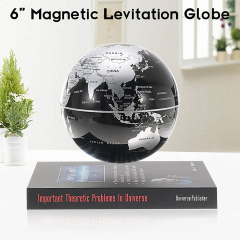 6'' Magnetic Levitation Rotating Geography Globe Floating World Earth Map Anti-Gravity Teuulrion Kids Gift Children Education