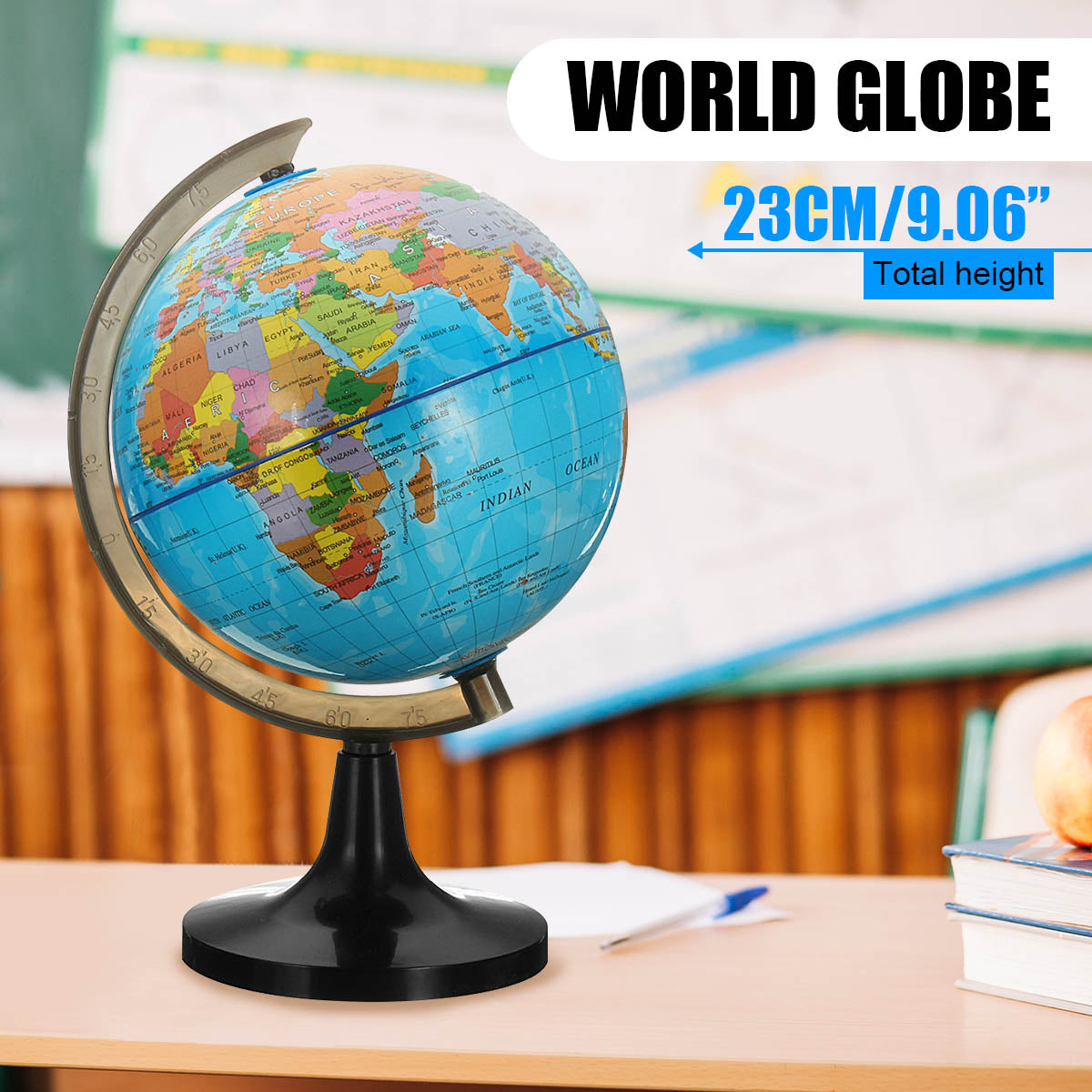 14cm Globe World Earth Tellurion Terrestre Globe World Map With Stand Geography Educational Toy Home Office Ornament Kids Gift