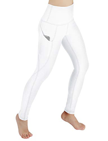 Ododos High Waist Out Pocket Yoga Pants Tummy Control Workout Running 4 Way Stretch Yoga Leggings,White,Large