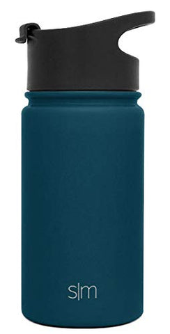Simple Modern 14Oz Summit Kids Water Bottle - Travel Mug Stainless Steel Flask +2 Lids - Wide Mouth Double Wall Vacuum Insulated Blue Leakproof -Riptide