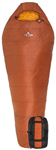 Teton Sports Altos-S +20F Ultralight Synthetic Mummy; 20 Degree Sleeping Bag Perfect For Backpacking, Hiking, And Camping; 3 Season Mummy Bag; Free Stuff Sack Included; Burnt Orange
