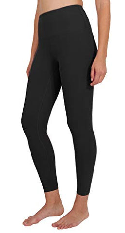 90 Degree By Reflex High Waist Power Flex Legging - Tummy Control - Black Ankle Length - Large