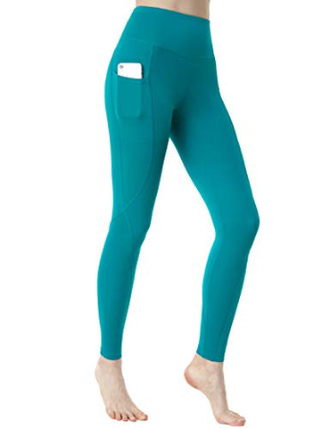 Tsla Tm-Fyp74-Bgn_Large Nyloskin Yoga Pants High-Rise Aty Tummy Control W Side Pockets Fyp74