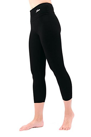 Nirlon Capri 7/8 Yoga Pants Capris For Women Best Cropped Leggings 22  Inseam Plus Size (Xl, Black)