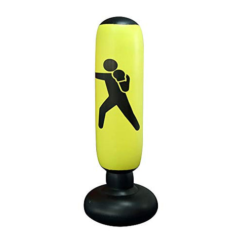 Homeyoo Fitness Punching Bag, Heavy Punching Bag Kick Training Inflatable Punching Tower Bag Freestanding Tumbler Column Sandbag Children Fitness Sport Play Adults De-Stress Boxing Target (Yellow-C)