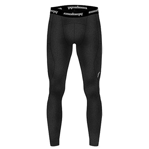 Coolomg Mens Thermal Compression Base Layer Pants Fleece Lined Running Workout Yoga Tights Black Small