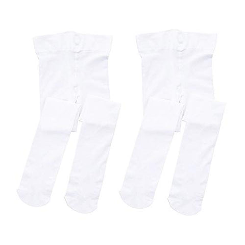 Stelle Girls' Ultra Soft Pro Dance Tight/Ballet Footed Tight (Toddler/Little Kid/Big Kid)(2-Pair-White, Xxs)