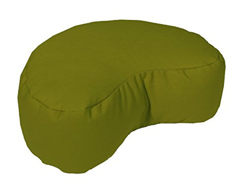 Bean Products Olive - Crescent Zafu Meditation Cushion - Yoga - 10Oz Cotton - Organic Buckwhear Fill - Made In Usa