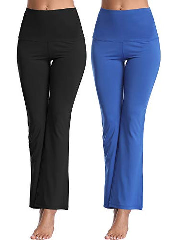 Cadmus High Waisted Boot Cut Pants Workout Leggings For Yoga,1106,Black &Amp; Blue,Medium