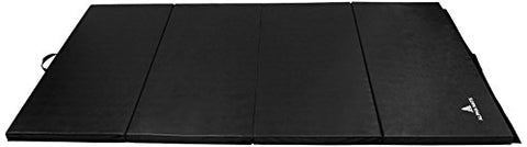 Alpha Mats Folding Gymnastics And Exercise Mat, Pu Material &Amp; Epe Foam, Perfect For Aerobics, Yoga, Martial Arts, Black, 4'X10'X2