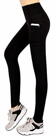 Sugar Pocket Women'S Workout Leggings Running Tights Yoga Pants With Side Pockets L (Black/Grey)