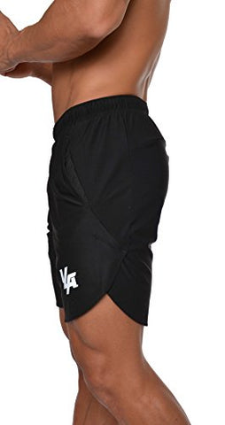 Youngla Men'S Running Shorts Athletic Gym Jogging Workout Powerlifting With Front Pockets 104 Black Xx-Large