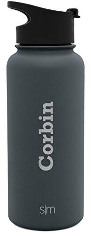 Simple Modern 32Oz Personalized Summit Water Bottle - Gifts For Men &Amp; Women Custom Laser Engraved Name - Hydro Vacuum Insulated Flask With 2 Lids Leakproof -Graphite