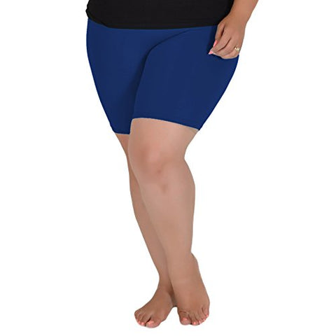 Stretch Is Comfort Women'S Cotton Plus Size Bike Shorts Navy Blue X-Large