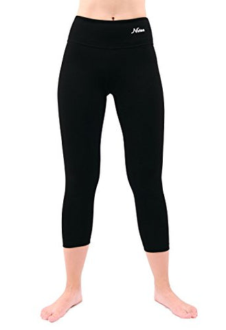 Nirlon Capri 7/8 Yoga Pants Capris For Women Best Cropped Leggings 22  Inseam Plus Size (3Xl, Black)