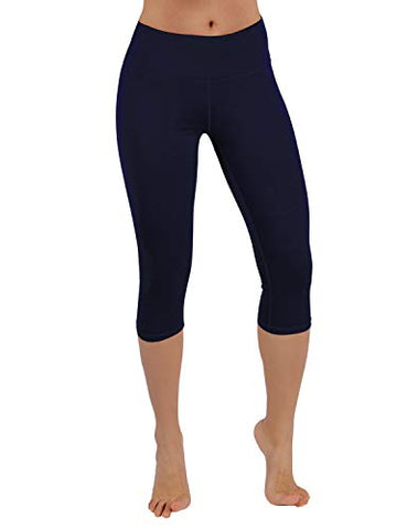 Ododos Power Flex Yoga Capris Tummy Control Workout Non See-Through Pants With Pocket,Navy,Large