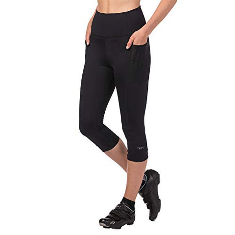 Terry Holster Hi Rise Cycling Capri Pant For Women - Bike Bottoms With Pockets And Hi-Rise Waistband Moderate Compression  Black  Medium