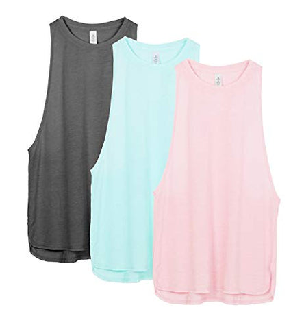 Icyzone Yoga Tops Activewear Workout Clothes Sports Racerback Tank Tops For Women (Xs, Charcoal/Pearl Blush/Aqua)