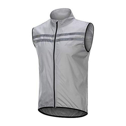 Bpbtti Men'S Hi-Viz Safety Running Cycling Vest(X-Large - Chest 42-44  Grey)
