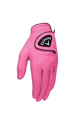 Callaway Golf 2017 Women'S Opticolor Leather Glove, Pink, Large, Worn On Left Hand