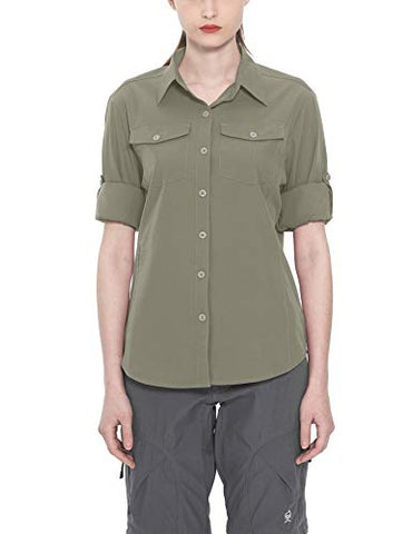Little Donkey Andy Women'S Stretch Quick Dry Water Resistant Outdoor Shirts Upf50+ For Hiking, Travelcamping Sage Size L