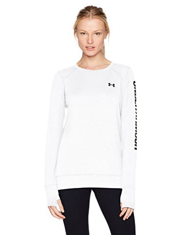 Under Armour Women'S Featherweight Fleece Crew Top, White /Black, Large
